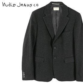 ■Nudie Jeans ヌーディージーンズ メンズ■ストライプ柄 ウール混 テーラードジャケット【WILHELM/JAPANESE WOOL】【サイズXS〜L】【ブラック】ndj-m-o-83-696 《メーカー希望小売価格74,800円》