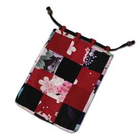 浴衣地パッチワーク巾着袋/きんちゃく綿100%小物入れ/内側ポケット付き【メール便OK】(2003-02)