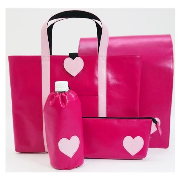 ご入学4点セット/ランドセルカバー 手提げ ペンケース他 女の子 ピンク ハート 入学祝いにも【OUTLET】【アウトレット】
