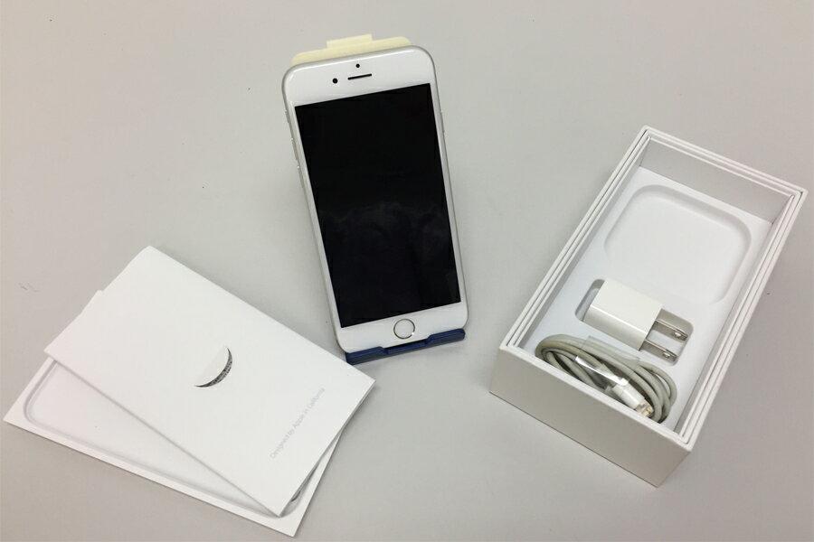 美品 アップル AU iphone6 16GB シルバー MG482J/A USB電源アダプタ、USBケーブル 箱付【中古】