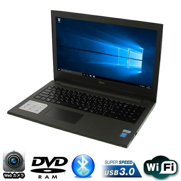 現品限り 15.6型HDワイド DELL製 Vostro 15 (3549) Core i5 5200U-2.2GHz メモリ4GB HDD320GB DVDマルチ 無線LAN内蔵 Windows10 Pro 64bit済【テンキー,USB3.0,Bluetooth,Webカメラ】【中古】