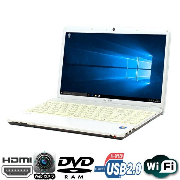 現品一台限り 15.5型 SONY製 VAIO Nシリーズ PCG-61611N (VPCEE47FJ) AMD Athlon2 Dual-Core P360-2.3GHz メモリ4GB HDD250GB マルチ WLAN内蔵 Windows10 Home 64bit済【HDMI、Webカメラ、テンキー,USB2.0】【中古】【マットホワイト】