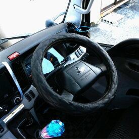 【即納】 トラック用品 トラック ハンドルカバー 2t/4t/大型車対応 MLサイズ/LMサイズ/2HSサイズ/2Lサイズ/2HLサイズ レザー ステアリングカバー エナメル ブラック 汎用 パーツ