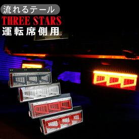 シーケンシャル ファイバー LED テールランプ 運転席側用 3連 角型 カスタムタイプ 12V/24V 車検対応 保証付 流れる テールランプ トラック用品 部品 外装パーツ 車検対応