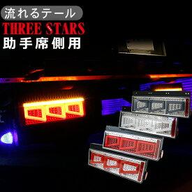 シーケンシャル ファイバー LED テールランプ 助手席側用 3連 角型 カスタムタイプ 12V/24V 車検対応 保証付 流れる テールランプ トラック用品 部品 車検対応 外装パーツ