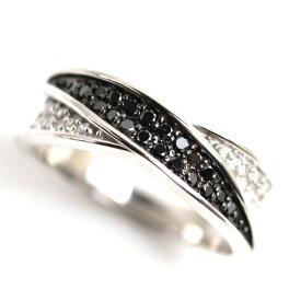 【MR3965】★K18WG ホワイトゴールド ダイヤモンド/ブラックダイヤリングファッションリング レディース指輪 D0.3ct 4.3g サイズ11.5号 【中古】【質屋出品】【あす楽】【新品仕上げ済み】