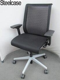 【SALE】【中古】スチールケース シンクチェア 3Dニット ブラック 可動肘 黒 【中古オフィス家具】