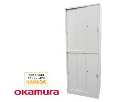 【中古】オカムラ 収納システム42シリーズ 3枚引違い書庫 上下 セット 鍵付【中古オフィス家具】