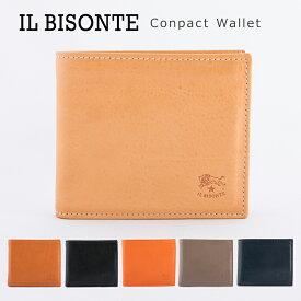 イルビゾンテ 財布 本革 レザー 二つ折り ミニ財布 二つ折り財布 メンズ レディース ウォレット レザーウォレット コンパクトウォレット IL BISONTE Conpact Wallet C0487 【送料無料】
