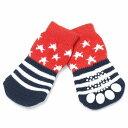 【ゆうパケット送料無料】HUGGY BUDDY'S(ハギーバディーズ) アメリカンスターソックス (犬用靴下 1足分4個セット)