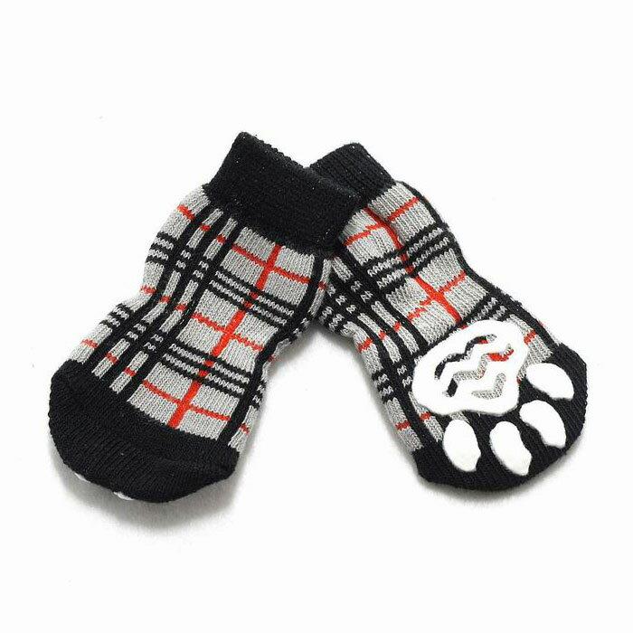 【ゆうパケット送料無料】HUGGY BUDDY'S(ハギーバディーズ) チェックソックス (犬用靴下 1足分4個セット)