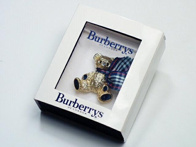 BURBERRY バーバリー ベアーブローチ くま ゴールド チェック リボン【中古】