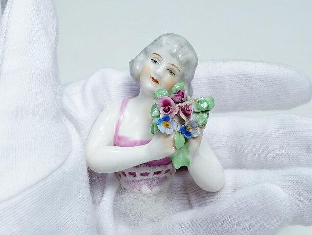 ドイツ アンティーク ハーフドール ピンク ブーケ インテリア 裁縫 ピンクッション ティーコジー【中古】