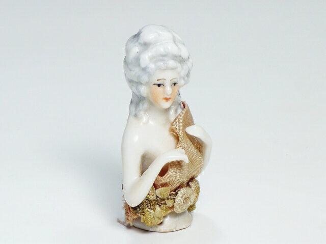 ドイツ アンティーク ハーフドール 貴婦人 インテリア 裁縫 ピンクッション ティーコジー【中古】