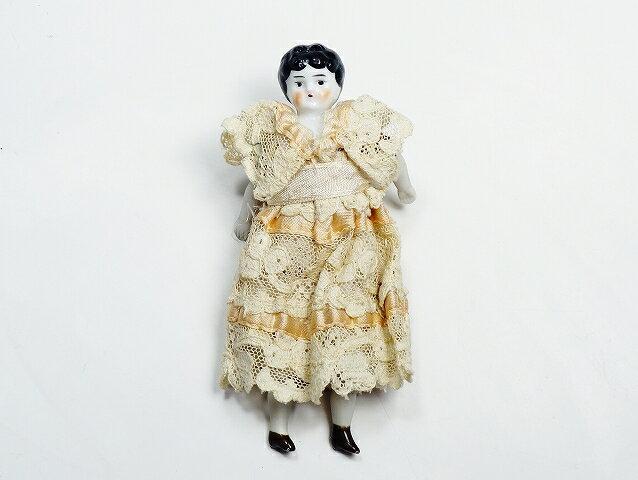 イギリス アンティーク ハーフドール 陶器 人形 12.8cm インテリア フィギュリン【中古】