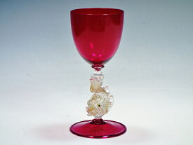 【7月限定5%OFFクーポンあり!】ヴェネチアングラス ムラノ murano ワイングラス フィッシュステム レッド 赤 高さ19cm【中古】