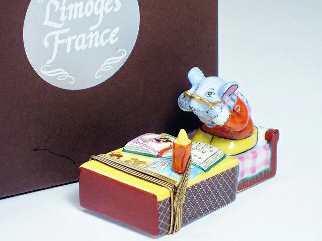 Limoges France リモージュ フランス マッチ箱とねずみ リモージュボックス【中古】