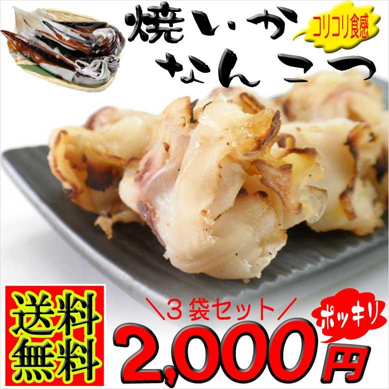 送料無料2000円ポッキリ イカ軟骨 珍味なんこつ焼き 3袋セット 国産 いか焼きツマミ 烏賊の希少部位乾き物 炙り レシピ 作り方 料理 さばき方 種類 カロリー 通販 おつまみ