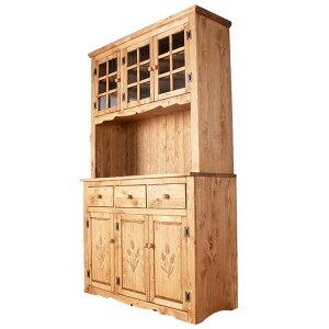 パイン材 カントリー家具 アメリカンカントリー 自然塗料 オスモカラー オイル仕上げ デンバー 120幅カップボード 麦の穂