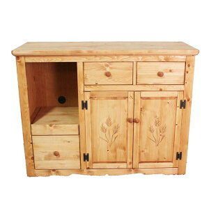 パイン材 カントリー家具 アメリカンカントリー 自然塗料 オスモカラー オイル仕上げ デンバー 120 キッチンカウンター 麦の穂