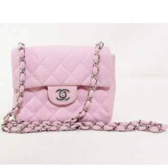 Chanel A01115 mini line matelasse cotton chain shoulder bag pink CHANEL