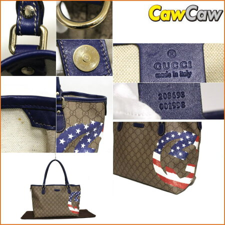 GUCCIグッチグッチ203693PVCトートバッグGGアメリカ国旗デザイン【送料無料】【中古】