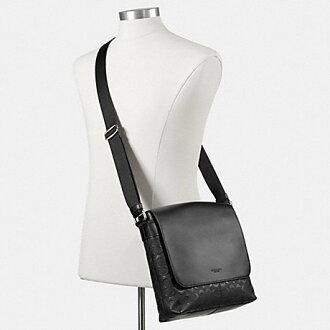 f2e91e094947 ... COACH mens signature shoulder bag F72220 black (black) Charles small Messenger  signature cross grain ...