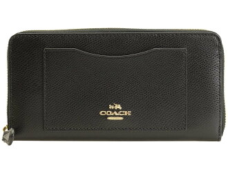 COACH women's long wallet F54007 black luxury cross-grain leather accordion zip around IMBLK [parallel import goods]