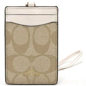 COACH ID case light khaki X chalk signature PVC orchid yard ID case F63274 IMDQC