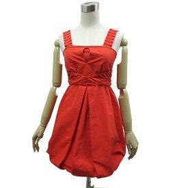 DreAng ドレアング ワンピース ノースリーブ バルーンスカート ミニ丈 サイズS 朱色 中古 美品 古着 他 ドレス 衣装
