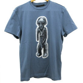 ルイ ヴィトン Tシャツ 半袖 サイズXXS 160 ブルー 刺繍 コットン 綿 フィット 薄手 古着 未使用 LOUIS VUITTON LV ZULU STATUE GRIS BLEU メンズ レディース