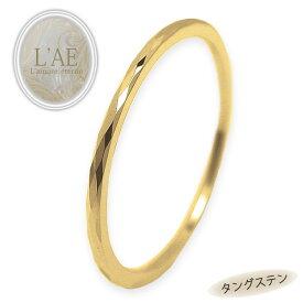 リング ピンキーリング タングステン 極細リング 金属アレルギー対応 ダイヤモンドカット 菱形 レディース リング シンプル ピンキー 指輪 イエロー ゴールド ステンレス サージカルステンレス 3号から 華奢 ユニセックス つけっぱなし