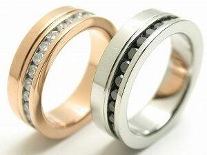 ペアリング リング 指輪 刻印 金属アレルギー 名入れ エタニティ 幅広 ジルコニア シルバー ピンク 黒 メンズ レディース カップル 2個セット ラッピング プレゼント ギフト 母の日 実用的