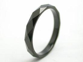 リング 指輪 タングステン 刻印 名入れ 金属アレルギー対応 ダイヤモンドカット 菱形 幅3mm/幅4mm ピンキーリング 黒 ブラック ステンレス メンズ レディース ピンキー ファランジリング ユニセックス