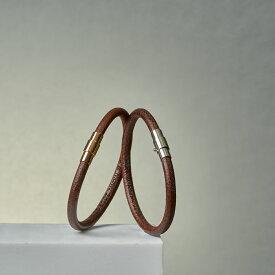 刻印無料 ペア ブレスレット or アンクレット つけっぱなし レザー タイプA レーザー彫刻 Lauss PairBracelet PairAnklet (長方形パッケージ)conpact