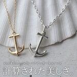 イニシャル刻印ペアネックレスアンカーネックレスK10&SILVERイニシャル彫刻LaussPairNecklace