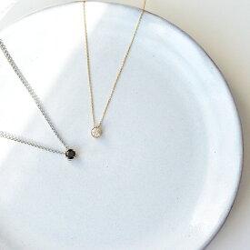 イニシャル刻印 ペア ネックレス 大粒 最上級 キュービック ジルコニア の 一粒石 ソリテール ネックレス K10 & 316L Lauss PairNecklace