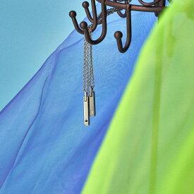 刻印無料 ペア ネックレス ダイヤモンド タングステン・スティックの ペアネックレス イニシャル彫刻 Lauss PairNecklace (長方形パッケージ)conpact
