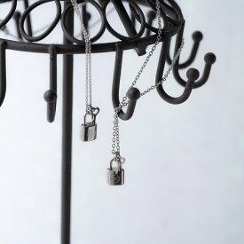 刻印無料 ペア ネックレス イニシャル・キーロックの ペアネックレス イニシャル彫刻 Lauss PairNecklace (長方形パッケージ)conpact