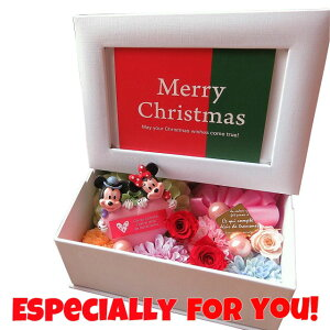 クリスマスプレゼント ミッキー ミニー ハート 写真立て フォトフレーム 花 プレゼント プリザーブドフラワー入り