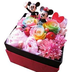 ディズニー 花束風ギフト ミッキー ミニー入り 箱開けてスマイル ボックス入り レインボーローズ プリザーブドフラワー ノーマル ミッキー ミニー
