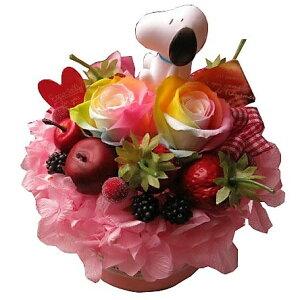 スヌーピー入り 花 スヌーピーマスコット入り レインボーローズ プリザーブドフラワー入りフラワーケーキ ケース付き マスコットカラーはおまかせ ◆記念日の贈り物におすすめの