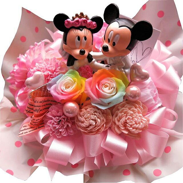 ディズニー 結婚記念日 花束 ミッキー ミニー ウェディングフィギュア レインボーローズ プリザーブドフラワー入り ケース付き