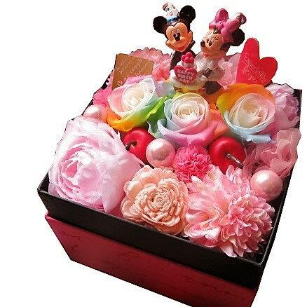 誕生日プレゼント ディズニー フラワーギフト 箱開けてスマイル ボックス入り レインボーローズ プリザーブドフラワー入り バースデー ミッキー ミニーA