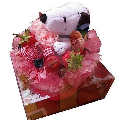 スヌーピー入り 花束風 ギフト プリザーブドフラワー ケーキ プリザーブドフラワー ケース付き スヌーピーカラーはお任せ 誕生日プレゼント・記念日の贈り物におすすめのフラワーギフト