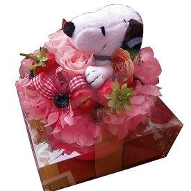 スヌーピー フラワーギフト プリザーブドフラワー ケーキ プリザーブドフラワー ケース付き スヌーピーカラーはお任せ 誕生日プレゼント・記念日の贈り物におすすめのフラワーギフト