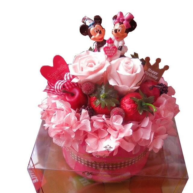 誕生日プレゼント 彼女 ディズニー 花 フラワーギフト フラワーケーキ プリザーブドフラワー入り ケース付き バースデーA ◆誕生日プレゼント・記念日の贈り物におすすめのフラワーギフト