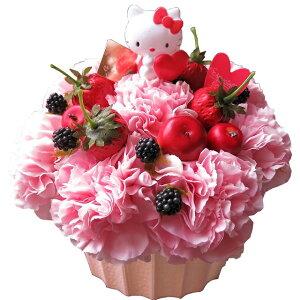 フラワーケーキ キティ マスコット入り フラワーアレンジメント ◆キティ マスコット柄はお任せ 生花使用フラワーアレンジメント