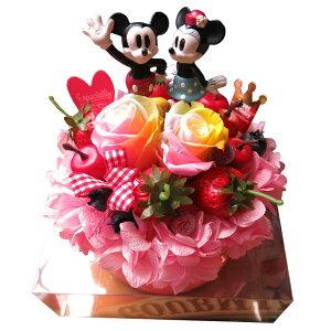 ディズニー ミッキー ミニー入り 花束 フラワーギフト フラワーケーキ レインボーローズ プリザーブドフラワー入り ケース付き ノーマル ミッキー ミニー◆結婚祝い・記念日の贈り物にお
