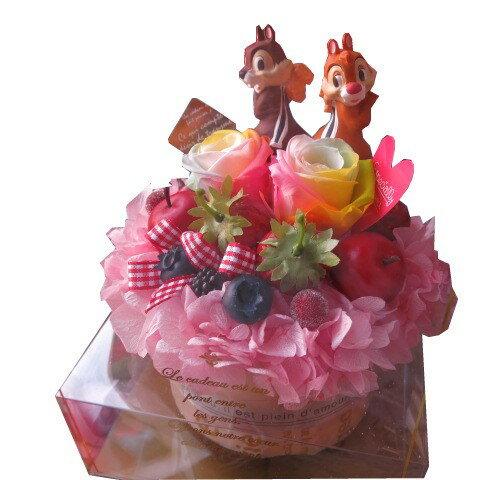 誕生日プレゼント ディズニー チップ デール入り 花 フラワーギフト フラワーケーキ レインボーローズ プリザーブドフラワー入り ケース付き チップ デール 記念日の贈り物におすすめのフラワーギフト